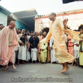 Dancing in kirtan with devotees  283x283 Radhanath Swami As a Music Lover