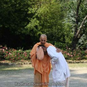 Radhanath Swami Embracing a Devotee 283x283 Radhanath Swami With Other Devotees