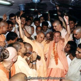 Radhanath Swami during kirtan in a train1 283x283 Radhanath Swami As a Music Lover