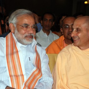 Radhanath Swami with Narendra Modi 283x283 Radhanath Swami at Gujarat Book Launch