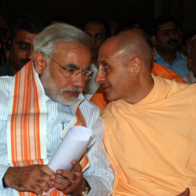 Radhanath Swami with Radhanath Swami with Narendra Modi Chief Minister 283x283 Radhanath Swami at Gujarat Book Launch