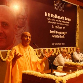 Radhanath swami at AMA 283x283 Radhanath Swami at Gujarat Book Launch