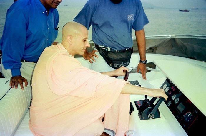 Radhanath Swami in a Boat