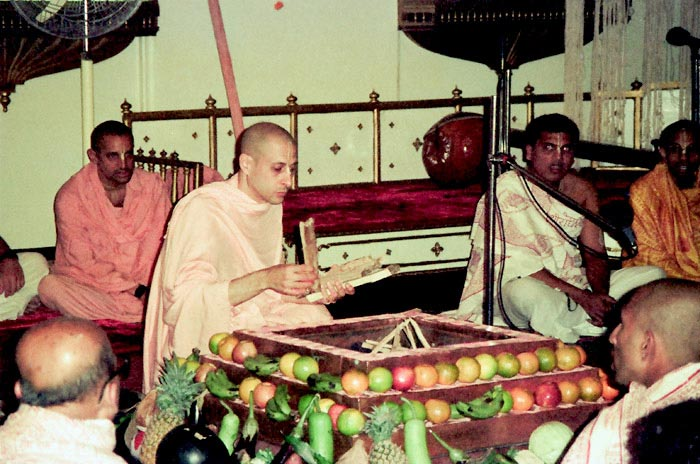 Radhanath Swami Preparing for fire sacrifice