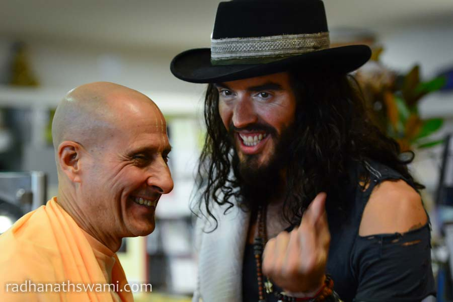 HH Radhanath Swami and Russell Brand