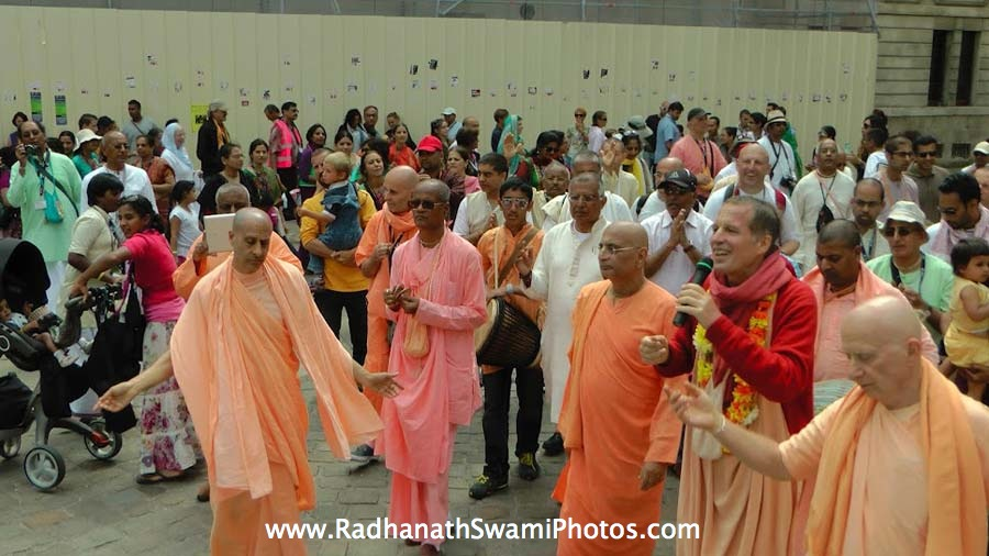 Chanting in the streets during Harinaam Sankirtan