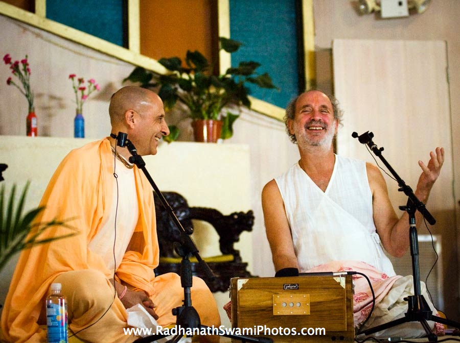 Radhanath Swami talking with Shyamdas