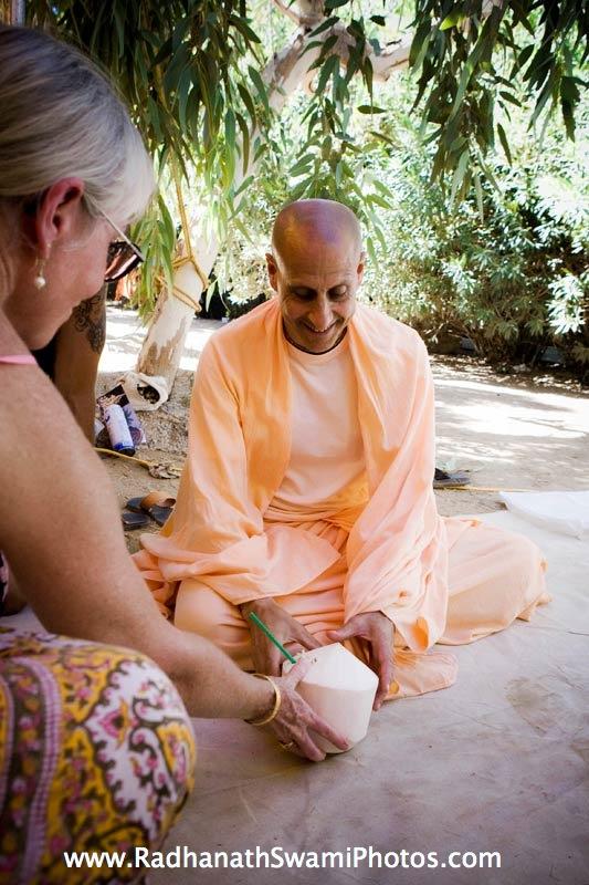 Radhanath Swami Honouring Coconut Water