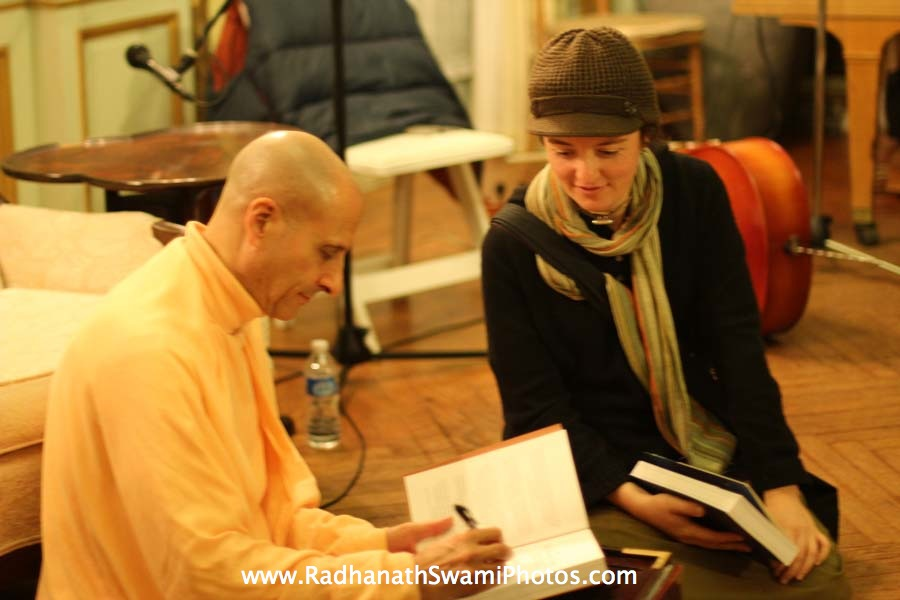 Radhanath Swami Signing his Book The Journey Home