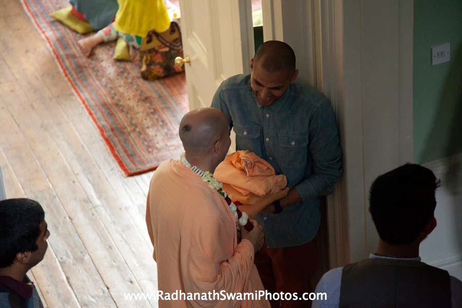 Radhanath Swami talking to Guests at Kirtan London Launch