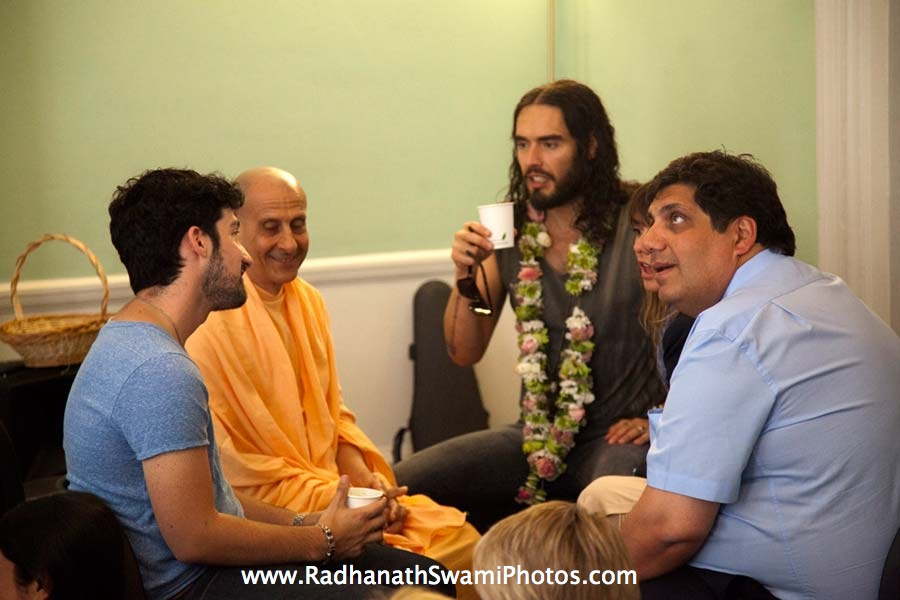 Radhanath Swami with Actor Russell Brand and other Guests