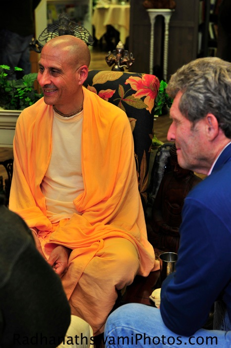 Radhanath Swami and shyam sundar prabhu at Akashic Book Store