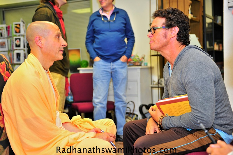 Radhanath Swami with Narayan prabhu at Akashic Book Store