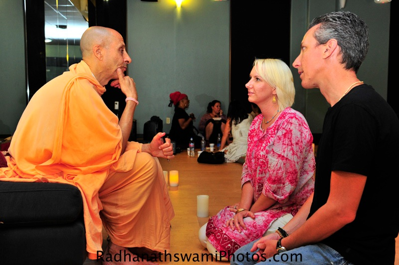 Radhanath Swami Speaking with Guests at Core Power Yoga Center