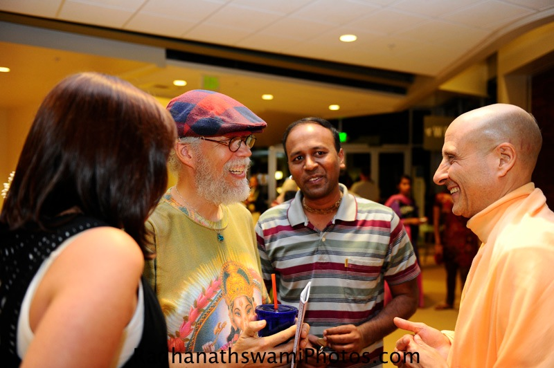 Radhanath Swami meeting guests at Center for spiritual living