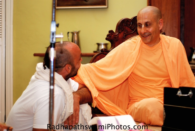 Radhanath Swami talking to Devotee
