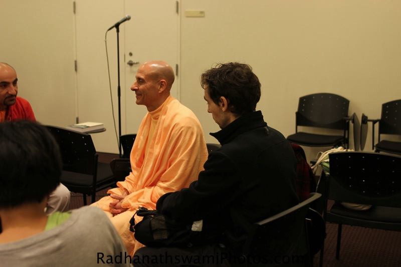 Radhanath Swami talking to Students after a talk at New York University