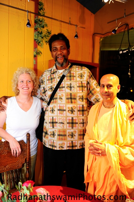 Radhanath Swami with Guests at Soul food Book Store