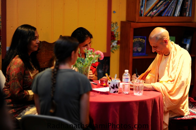 Radhanatha Swamy Signing his book at Soul Search Book Store