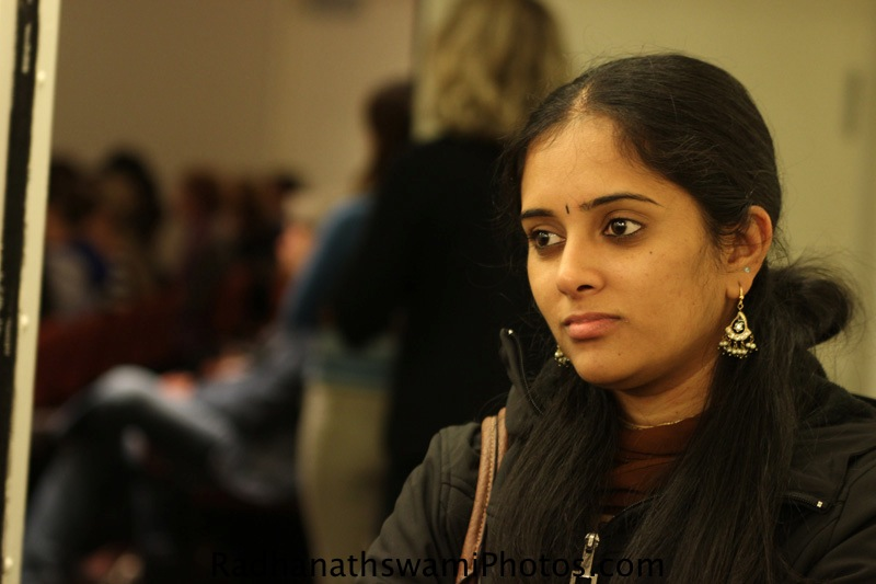 Student of New York University hears a talk by HH Radhanath Swami