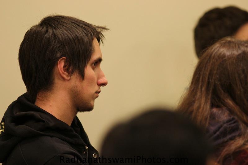 Student of NewYork University hear a talk by Radhanath Swami