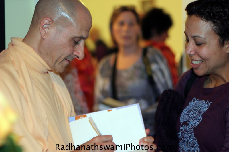 Radhanath Swami Signing his Book at Baker Street Yoga Center