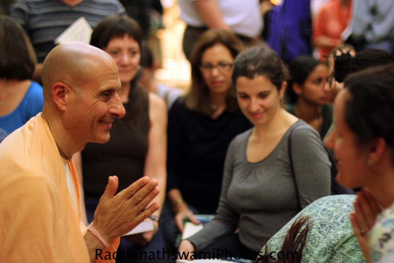 Radhanath Swami Speaks to Guest