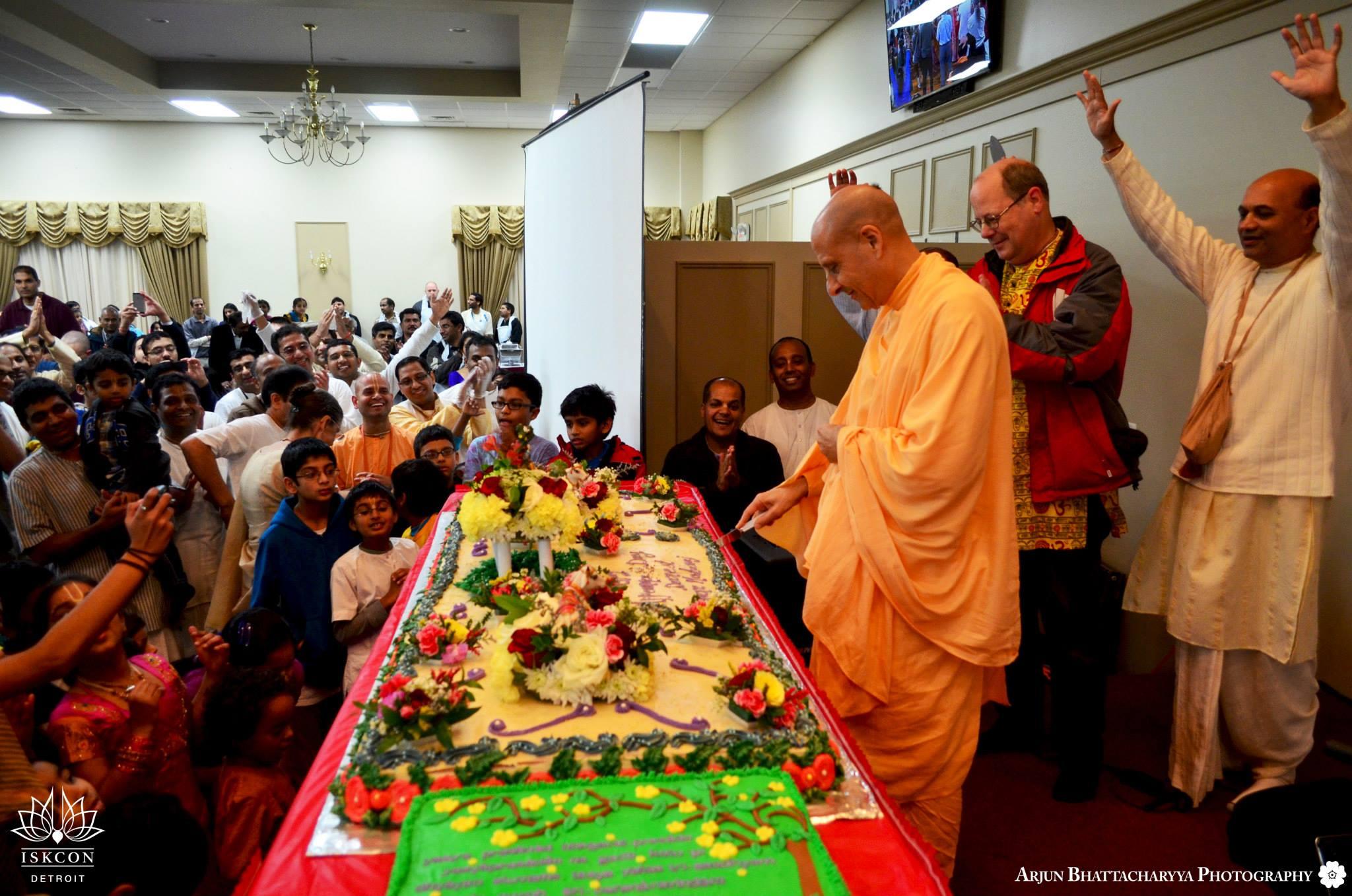 Radhanath Swami cuting moment