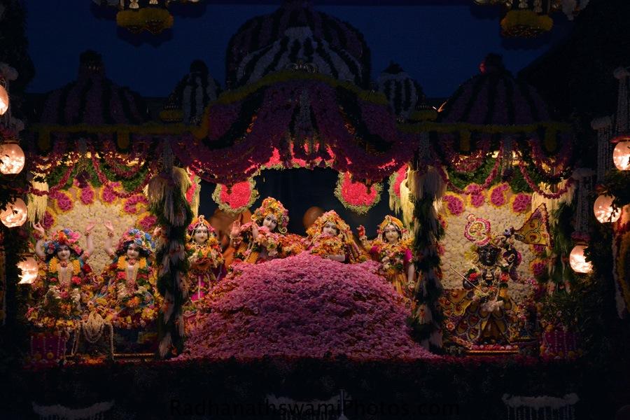 Flower abhishek of lord at ISKCON Chowpatty