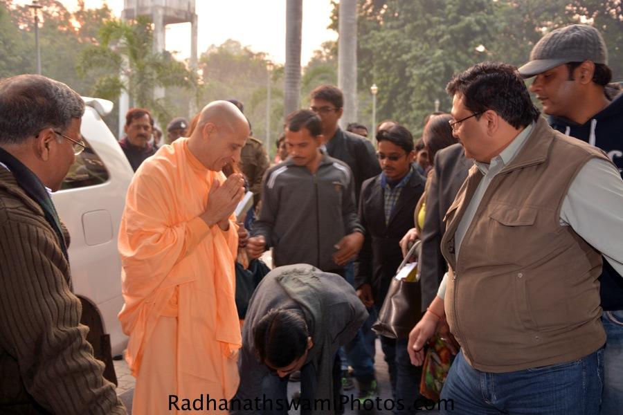 Radhanath Swami outside the hall at patna