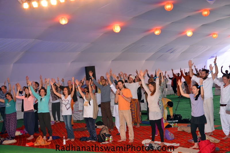 Dancing kirtan by Yoga students at Rishikesh