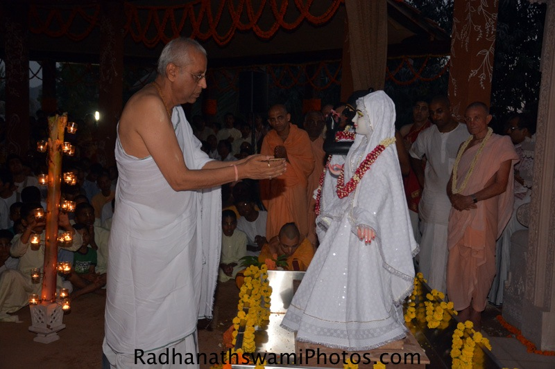Radha Krishna prabhu offering bhoga to the Lord