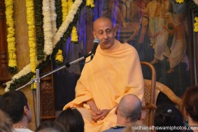 Radhanath Swami speaks before the festival begins in the evening