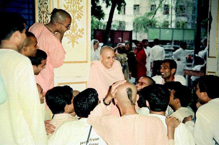Radhanath Swamitalking with Devotees
