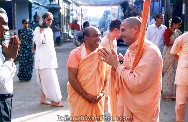 Radhanath Swami with Bhakti Swaroop Damodar Swami