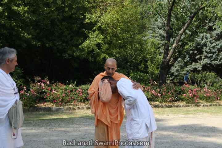 Radhanath Swami Embracing a Devotee