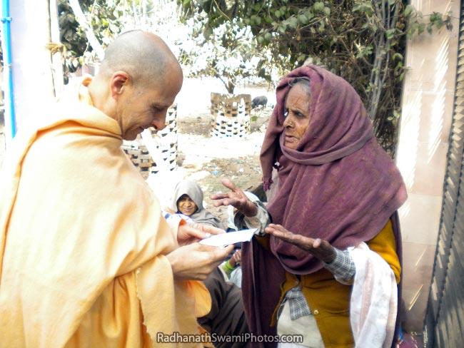 Radhanath Swami Hearing From The Patient At Barsana Eye Camp