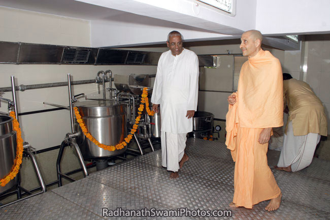 Radhanath Swami Inspecting Food Relief Centre