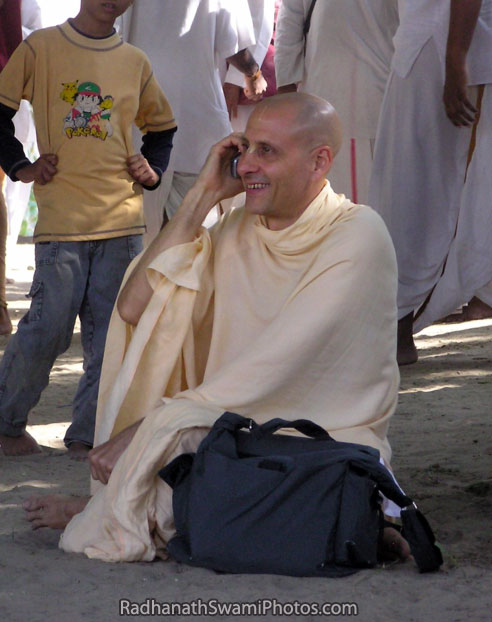 Radhanath Swami On Cell Phone
