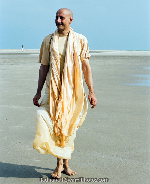 Radhanath Swami Walking On Sea Shore