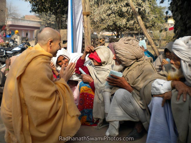 Radhanath Swami Warmly Greeting The Patients