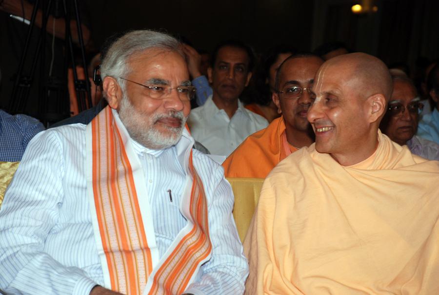 Radhanath Swami with Narendra Modi