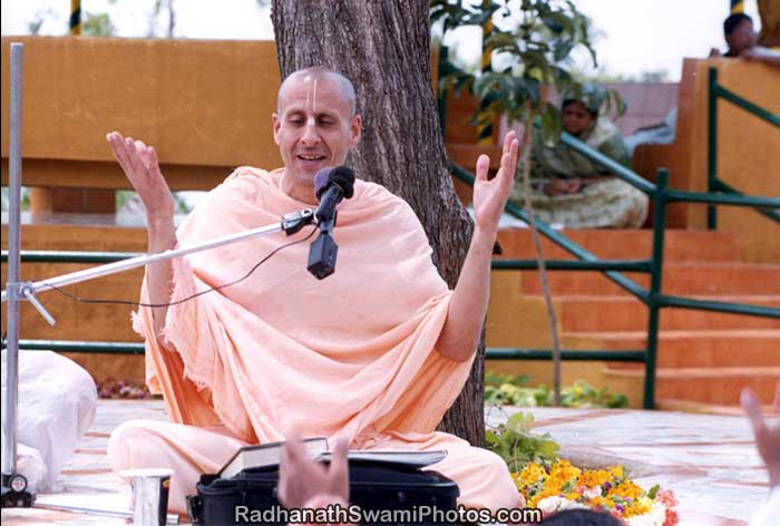 Radhanath Swami giving a Spiritual Discourse