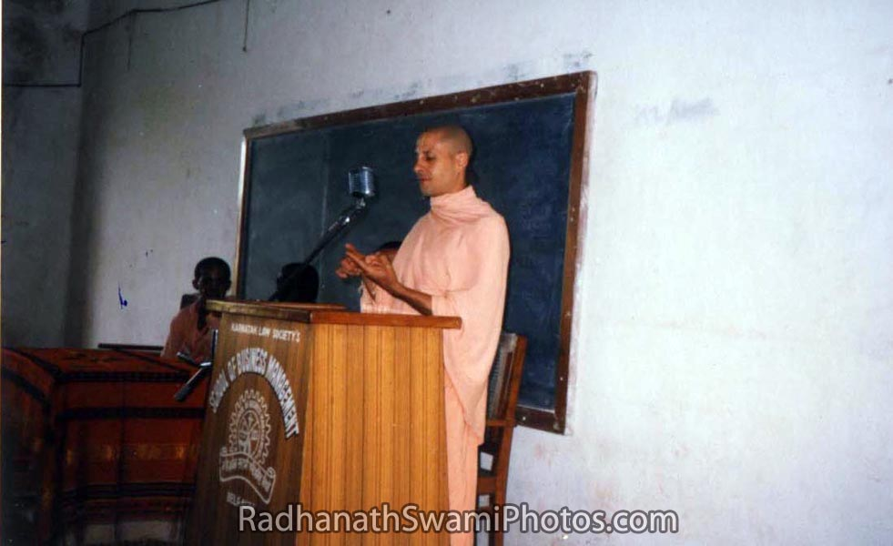 Radhanath Swami Delivering a Spiritual Discourse to management Students