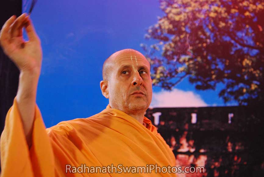 Radhanath Swami Doing Arti
