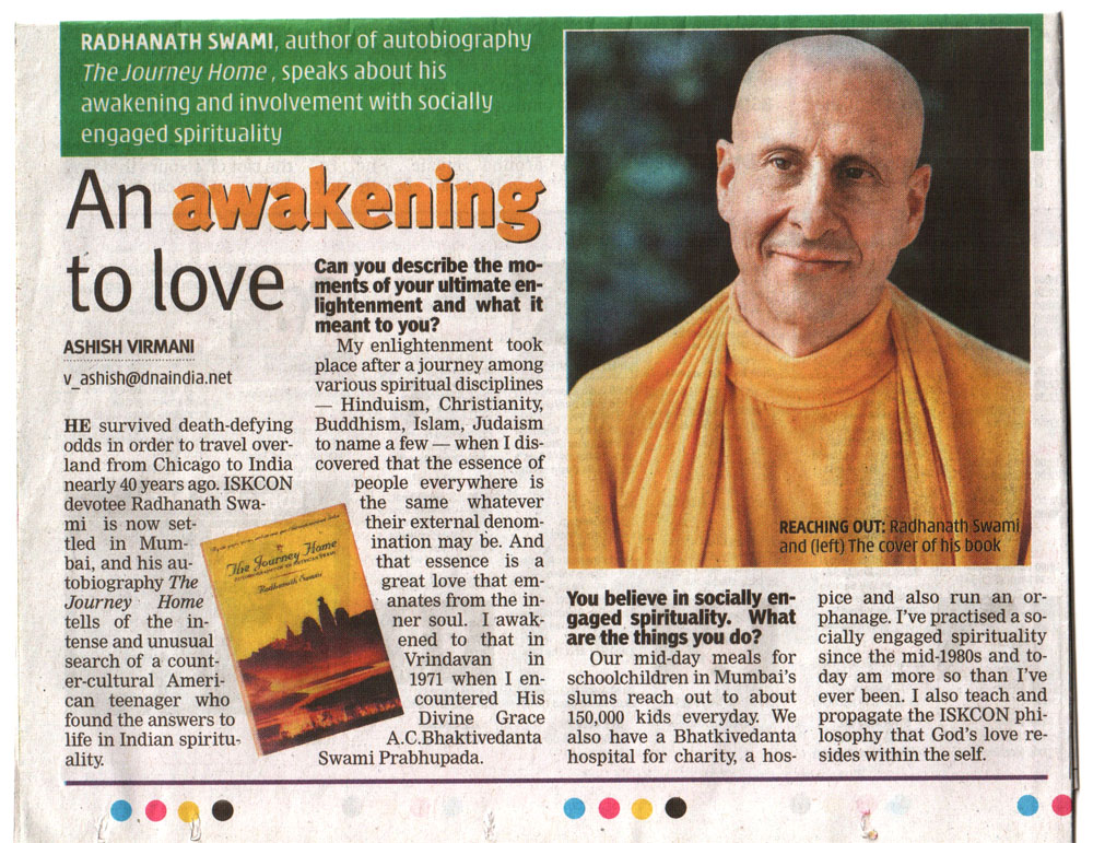Radhanath Swami in DNA Newspaper