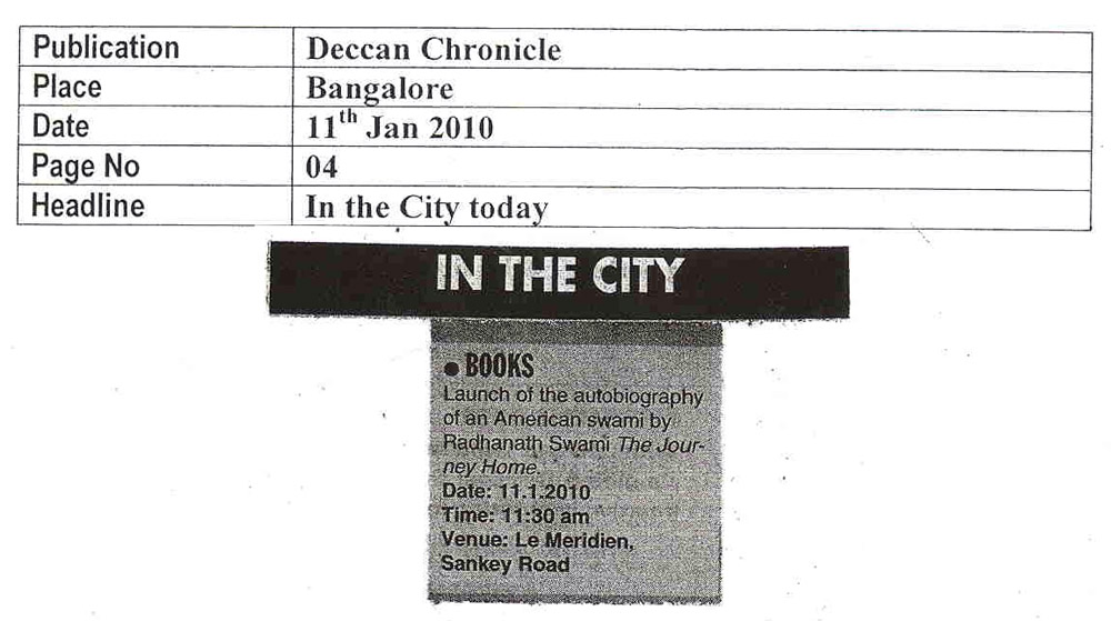 Book Launch News in Deccan Chronicle, Bangalore