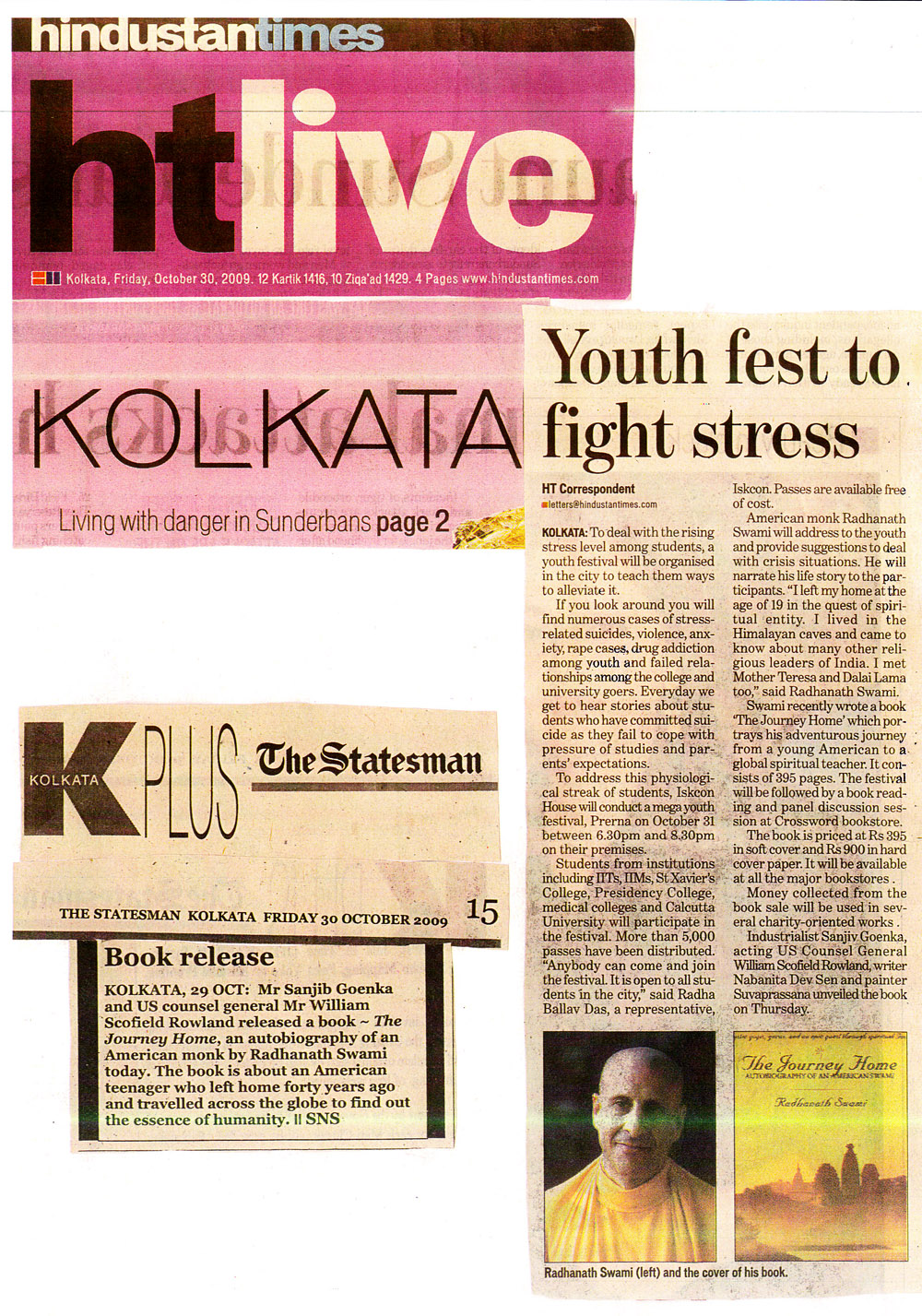 Radhanath Swami in Hindusthan Times and Statesman