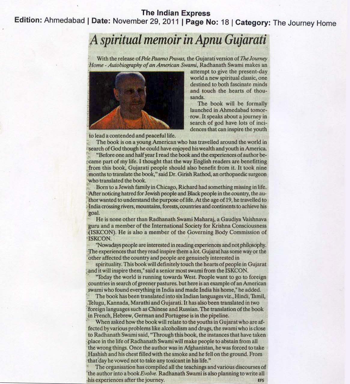 Radhanath Swami at Ama (Indian Express)