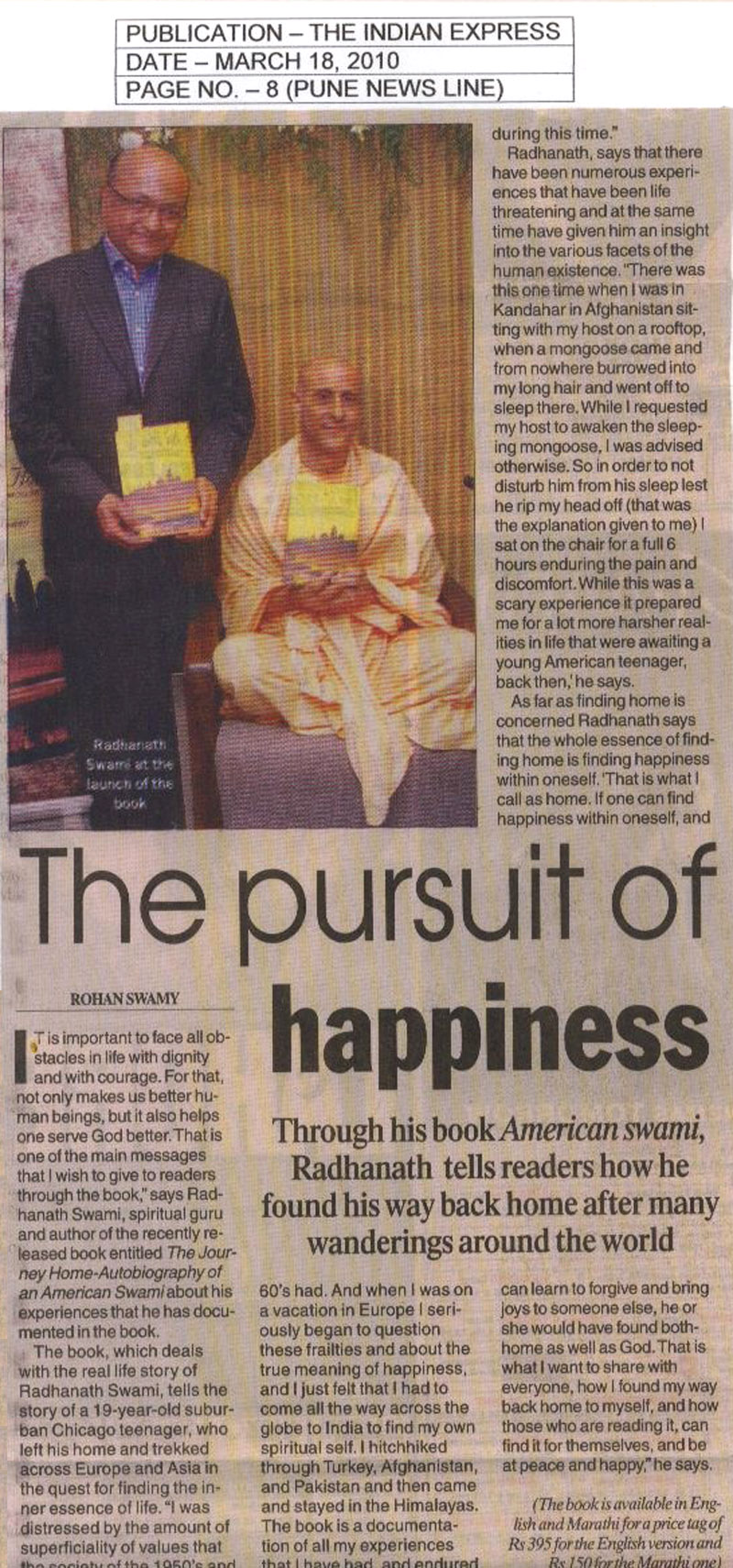 Radhanath Swami in The Indian Express, Pune